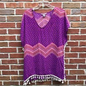 Love and Beach Swimsuit Cover up M Purple Pink