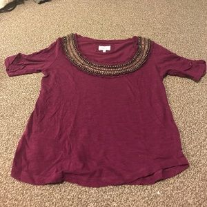 Anthropologie purple embellished scoop neck shirt