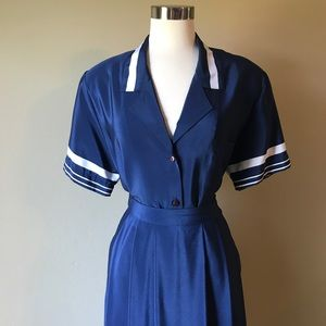 Vintage Navy and White Pleated Midi Skirt & Blouse