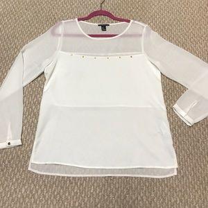 Forever 21 white long sleeve hi-low blouse
