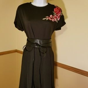 Rose Embroidered Black Swing Dress/Tunic