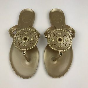 [Jack Rogers] Georgica Gold Jelly Sandals Preppy 6