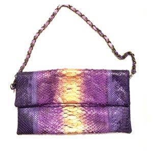 Purple and gold Snake skin clutch or small purse