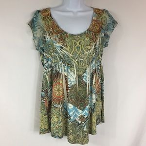 One World Ruched and Studded Top Size M