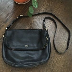 Black Fossil Bag with Gold Hardware