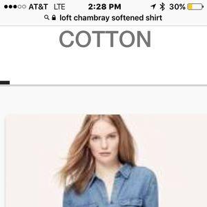 Loft long sleeve soft chambray shirt