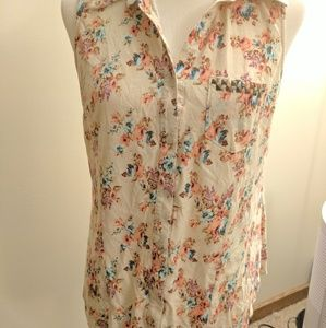 XL Mossimo Floral Tank Top with Studded Pocket