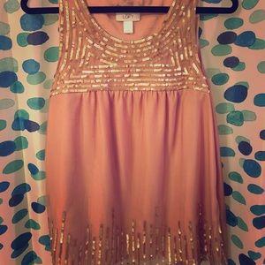Gorgeous Mauve & gold Sleeveless LOFT top