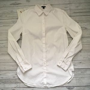 ann taylor womens 6 white button up blouse career