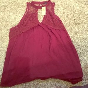 American eagle red lace shirt