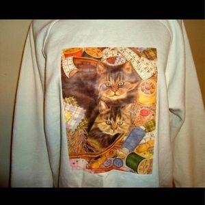 90s Cat Crewneck Vintage White Pullover sweater