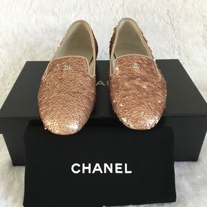Chanel Sequin CC Mocassins Loafers Pink