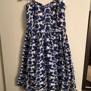 Strapless Royal blue patterned knee length dress