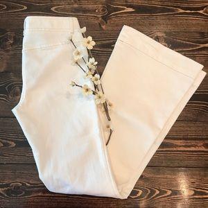 Rare Retro Theory white denim wide flare jeans EUC