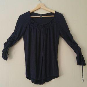 Free People navy blue long sleeve top