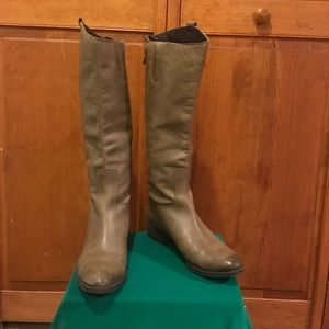 Taupe leather tall  boots