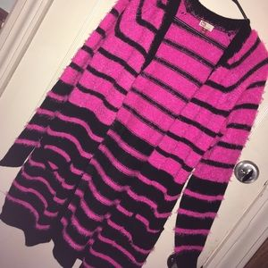 Pink and Black Striped Cardigan