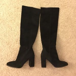 Tall black suede boots with block heel
