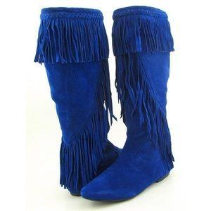 Sam Edelman cobalt blue fringed suede boots