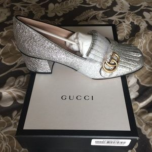 Gucci- New Metallic Silver Marmont Loafer - 38.5