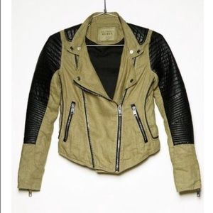 Blank NYC green linen moto jacket XS