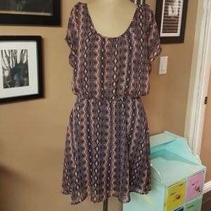 Bar lll Pattern Dress with Cinch Waist