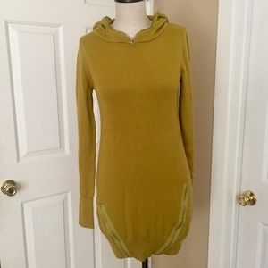 Wool blend sweater dress mustard ochre fall style
