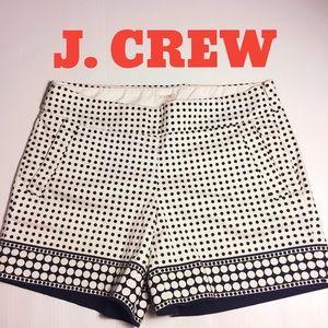 J. CREW stretch Chino polkadot shorts navy ivory 2