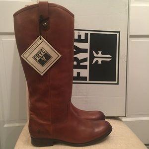 Frye Melissa Button Tab Riding Boots Cognac 9