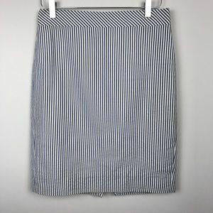 [J Crew] Seersucker Striped Pencil Skirt Preppy 2