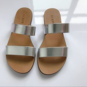 J. Crew Leather 'Malta' Sandals Silver Mirror 6