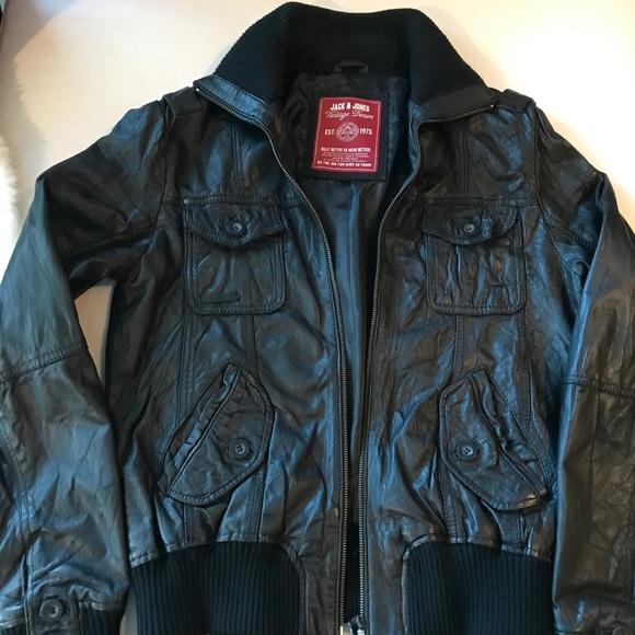 c19308323 Jack & Jones Genuine Leather Jacket 80's Vibe