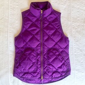 J. Crew Purple Quilted Puffer Vest