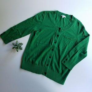 GAP Green 3/4 Sleeve Cardigan Size M