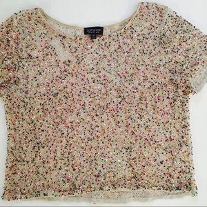 TOPSHOP Multi-Color Sequin Crop Top