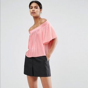 ASOS Pleated off shoulder Pink Top NWT!