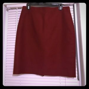 Maroon Cotton J.Crew No.2 Pencil Skirt