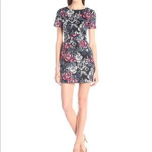 French connection cap sleeve floral dress rose
