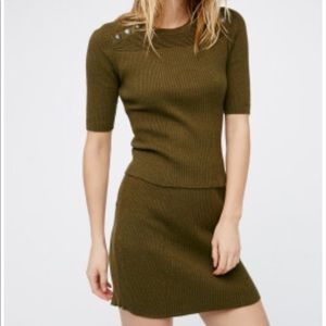 Free People Little Minx Cotton Sweater & Miniskirt