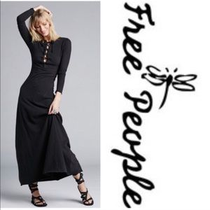 Free People black lace-up maxi dress- NWT- small