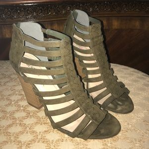 Army/Olive green strapped heel!!