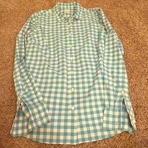 J crew perfect shirt gingham powder blue white