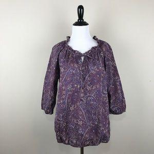 Ann Taylor Loft Purple Paisley Blouse Small