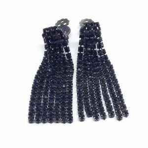 *SALE* Earrings Black Rhinestone Clip Ons