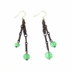 *SALE* Earrings Vintage Green Glass Bead Dangles