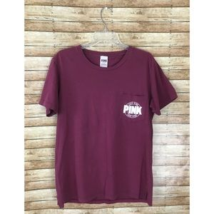 Victoria's Secret PINK Maroon Graphic Campus Tee
