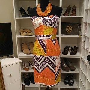 NWT TRINA TURK CORA PRINT STRAPLESS DRESS 6
