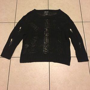 Black Knit Distressed Top