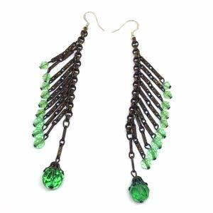 *SALE* Earrings Vintage Green Glass Bead Statement