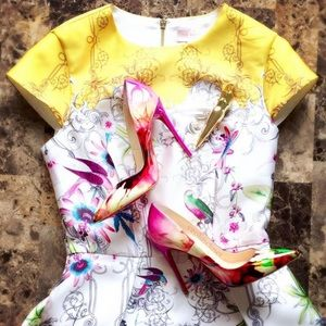 Ted Baker Yellow Fit & Flare Dress